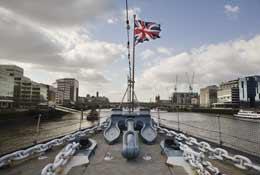 Imperial War Museum, HMS Belfast - Kip on a ship school groups